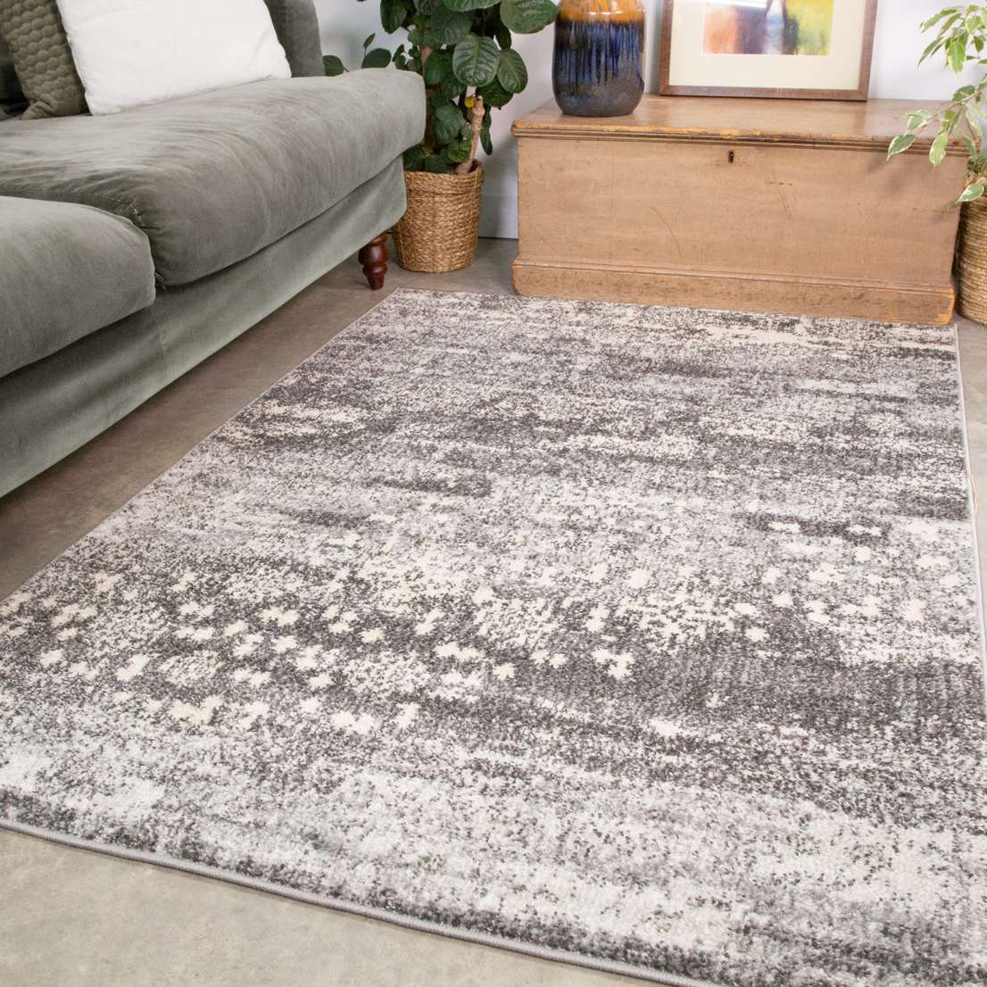 Grey Distressed Pattern Living Room Rug, Rugs For Living Room