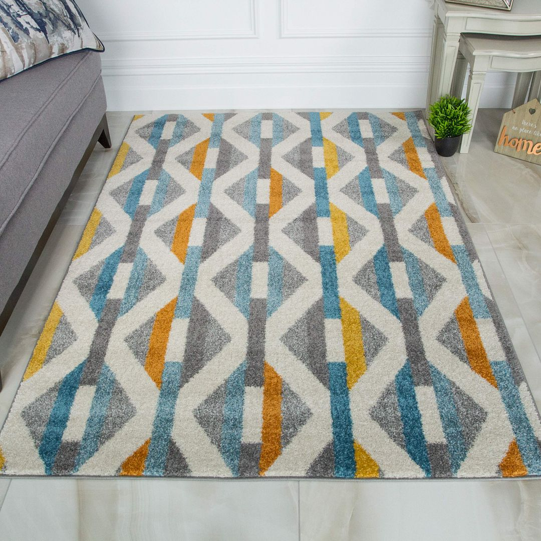 Multicoloured Scandi Geometric Rug - Bombay
