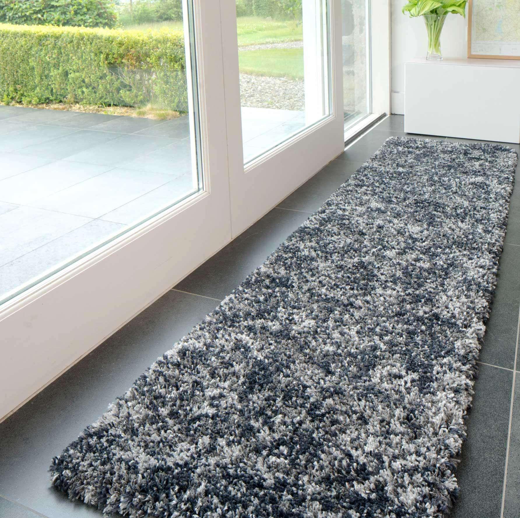Soft Mottled Grey Shaggy Hallway Rug | Camberley