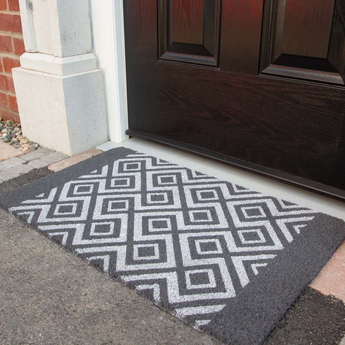 Grey Diamond Coir Outdoor Entrance Doormat - Coir