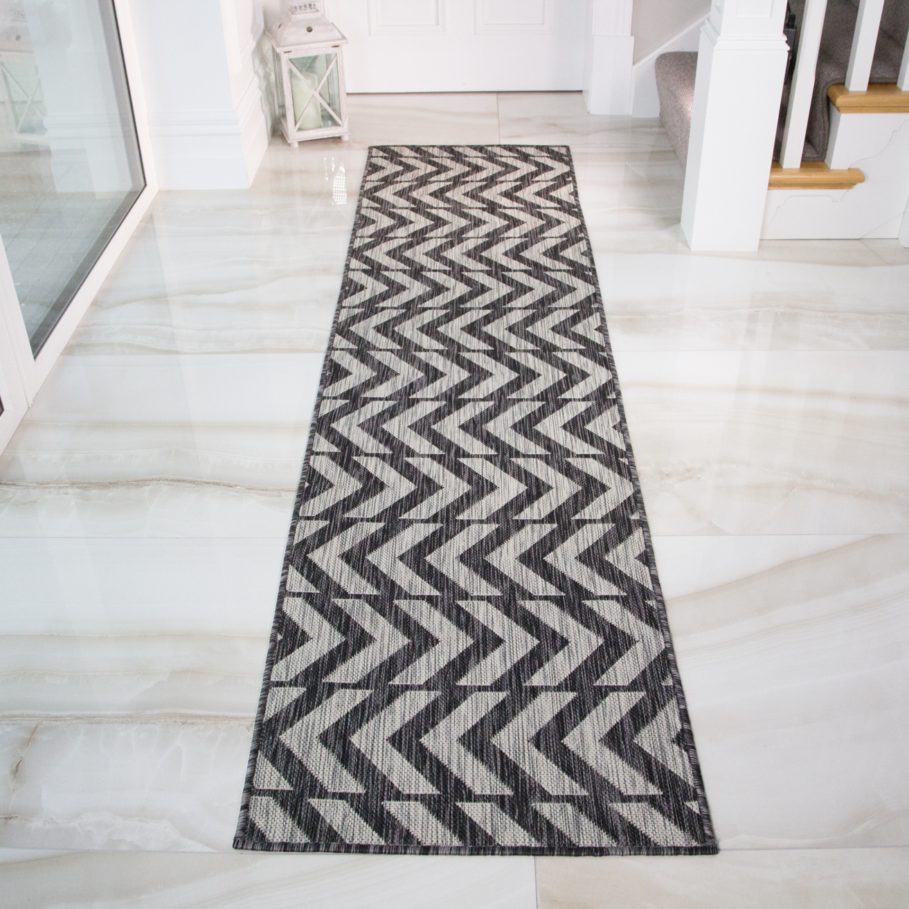 Charcoal Geometric Outdoor Runner Rug- Habitat