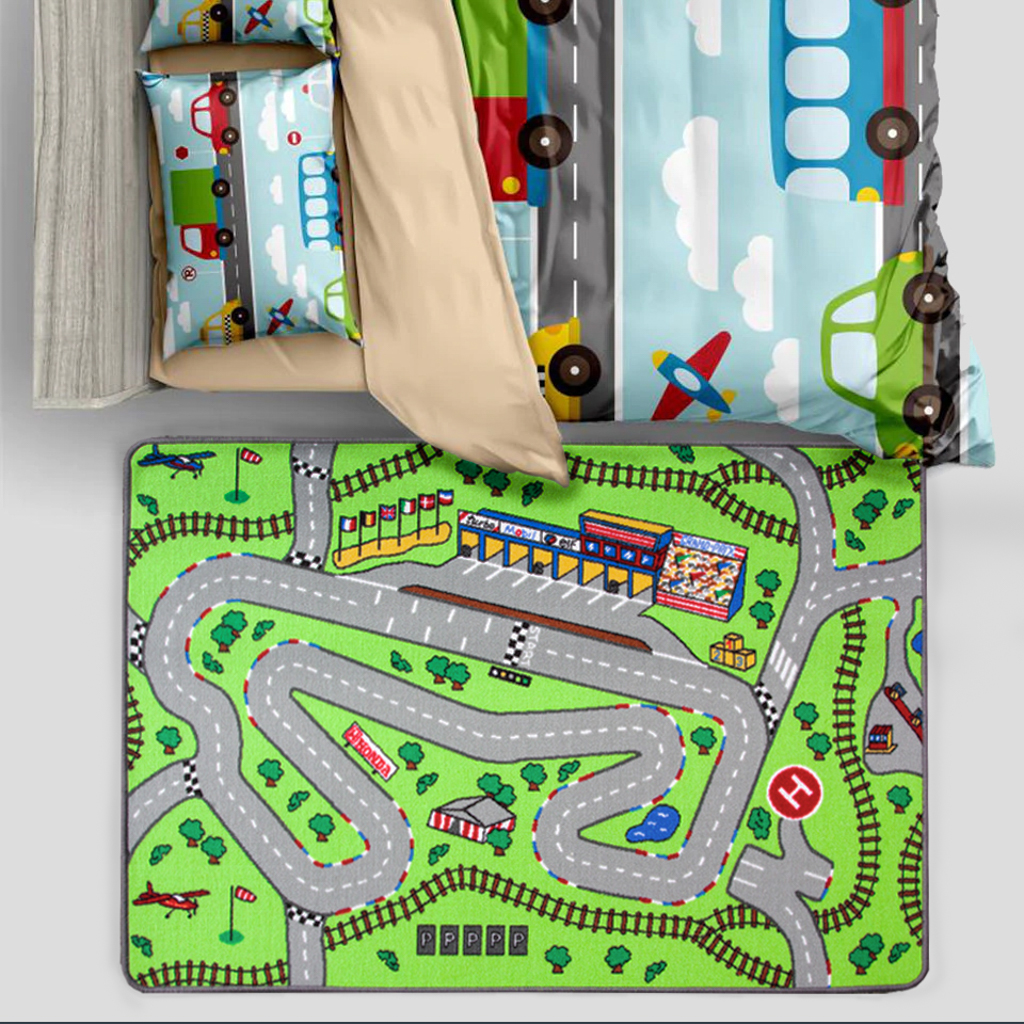 Colourful Kids Car Race Track Mat