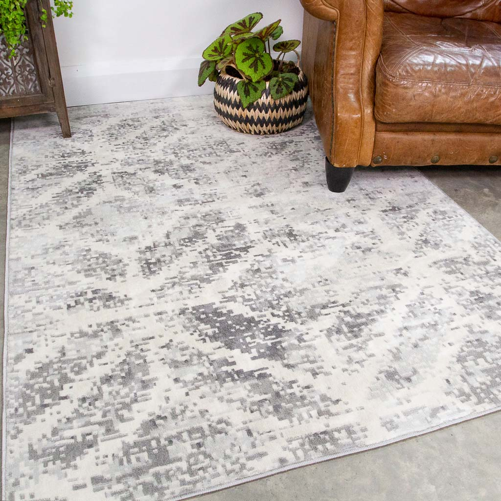 Faded Distressed Grey Geometric Pattern Rug Oscar Kukoon Rugs Official Online Store