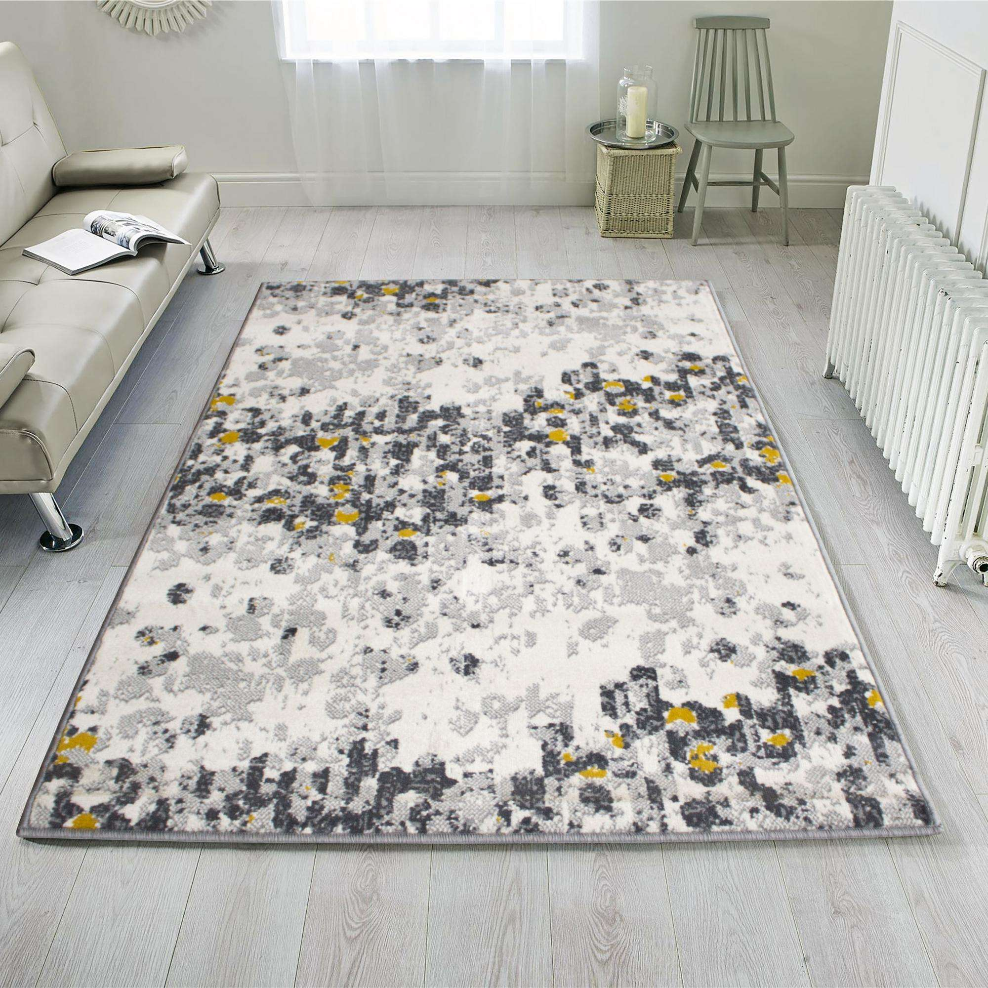 Yellow Grey Distressed Modern Living, Rugs Modern Living Rooms