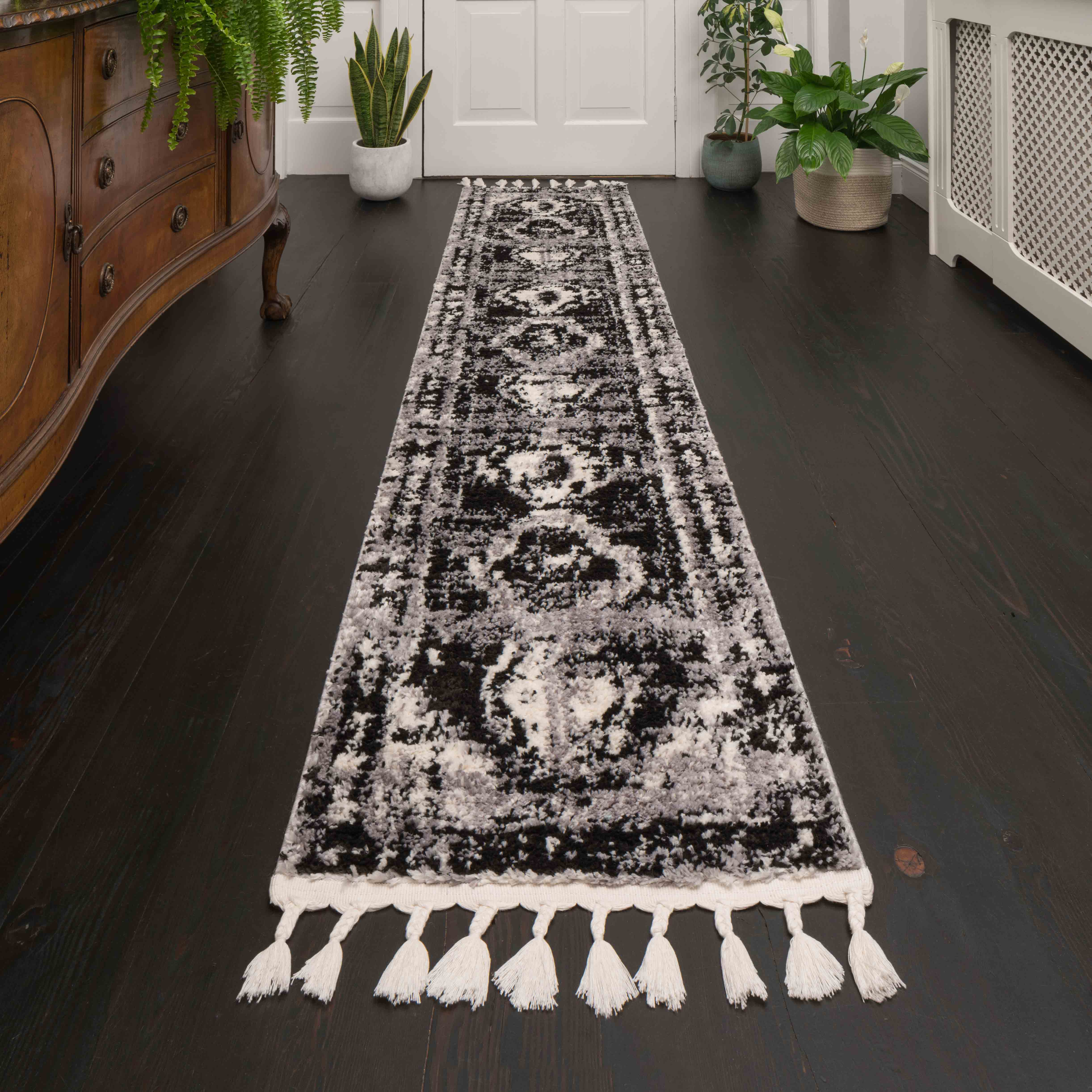 Grey Tone Distressed Moroccan Hall Runner Rugs - Souk