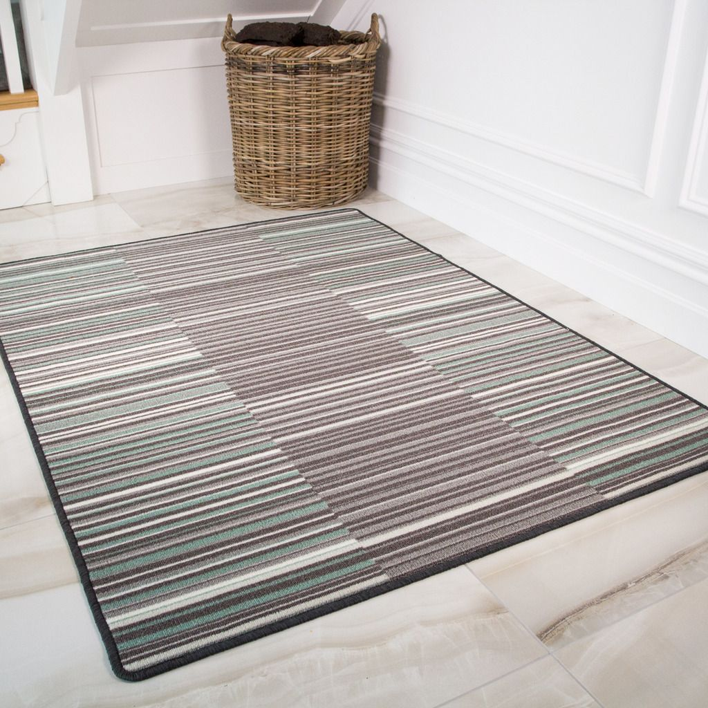 Duck Egg Geometric Washable Rug