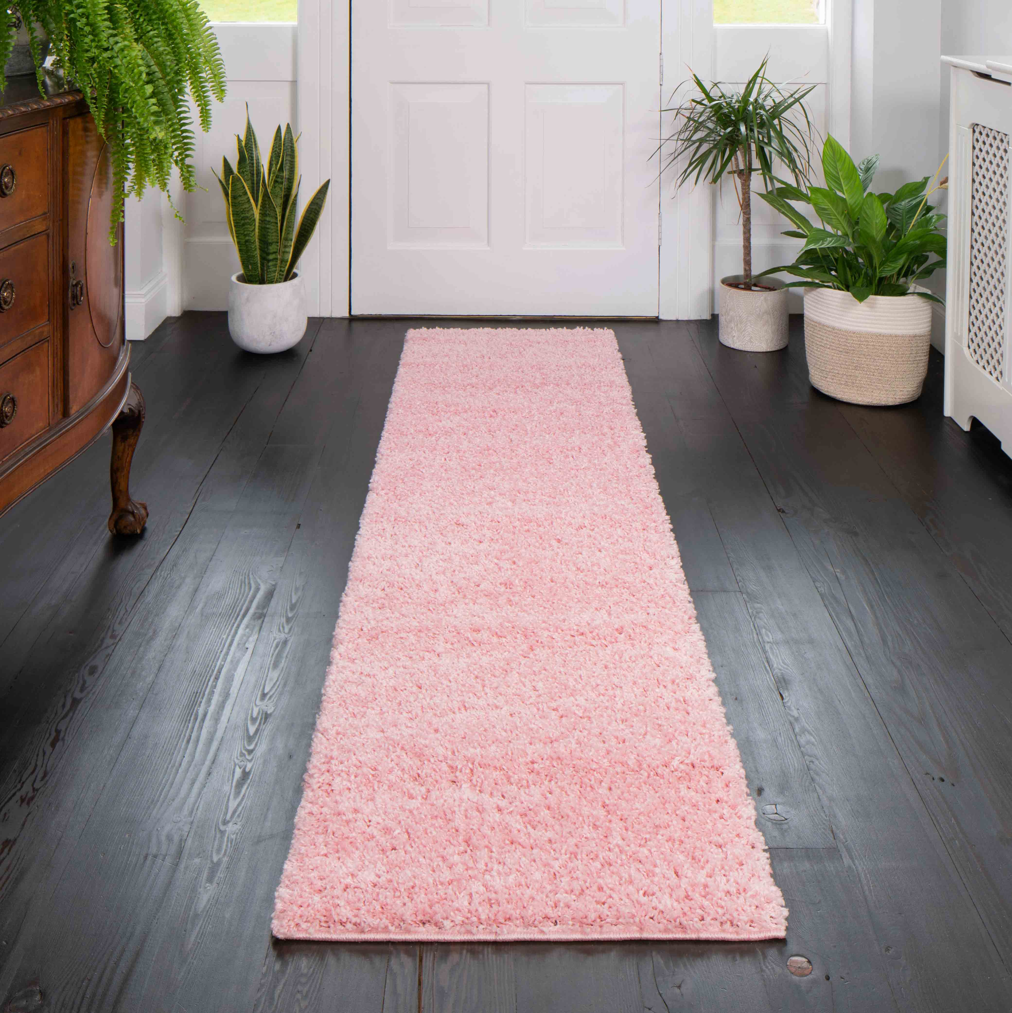 Baby Pink Shaggy Runner Rug - Vancouver