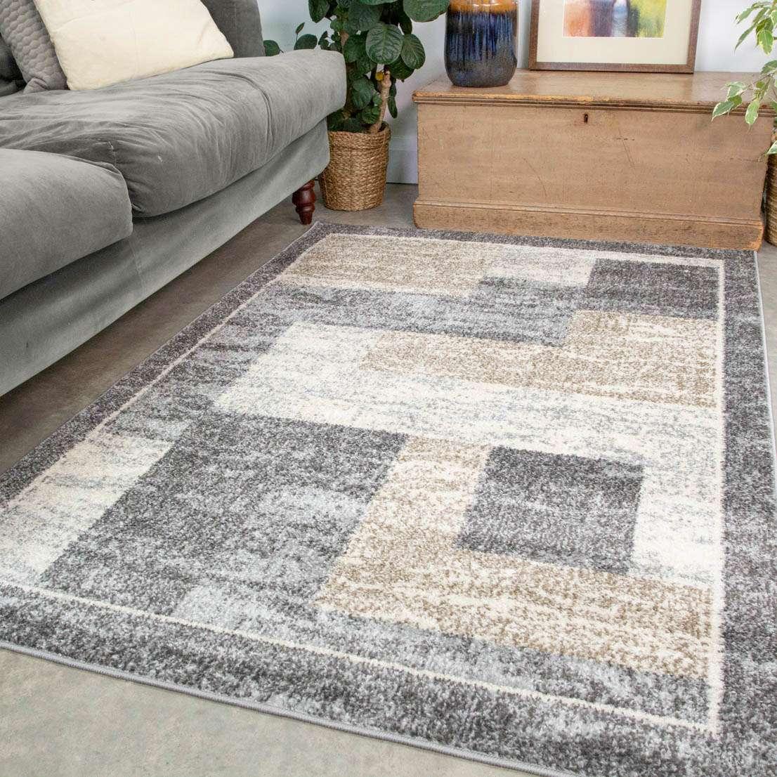 Grey Brown Blocks Modern Living Room, Rugs Modern Living Rooms