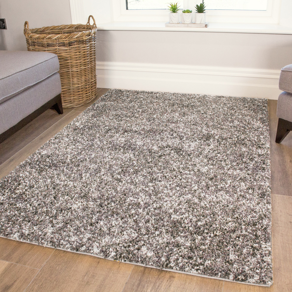 Silver Shaggy Round Circle Rug for Living Room   Murano