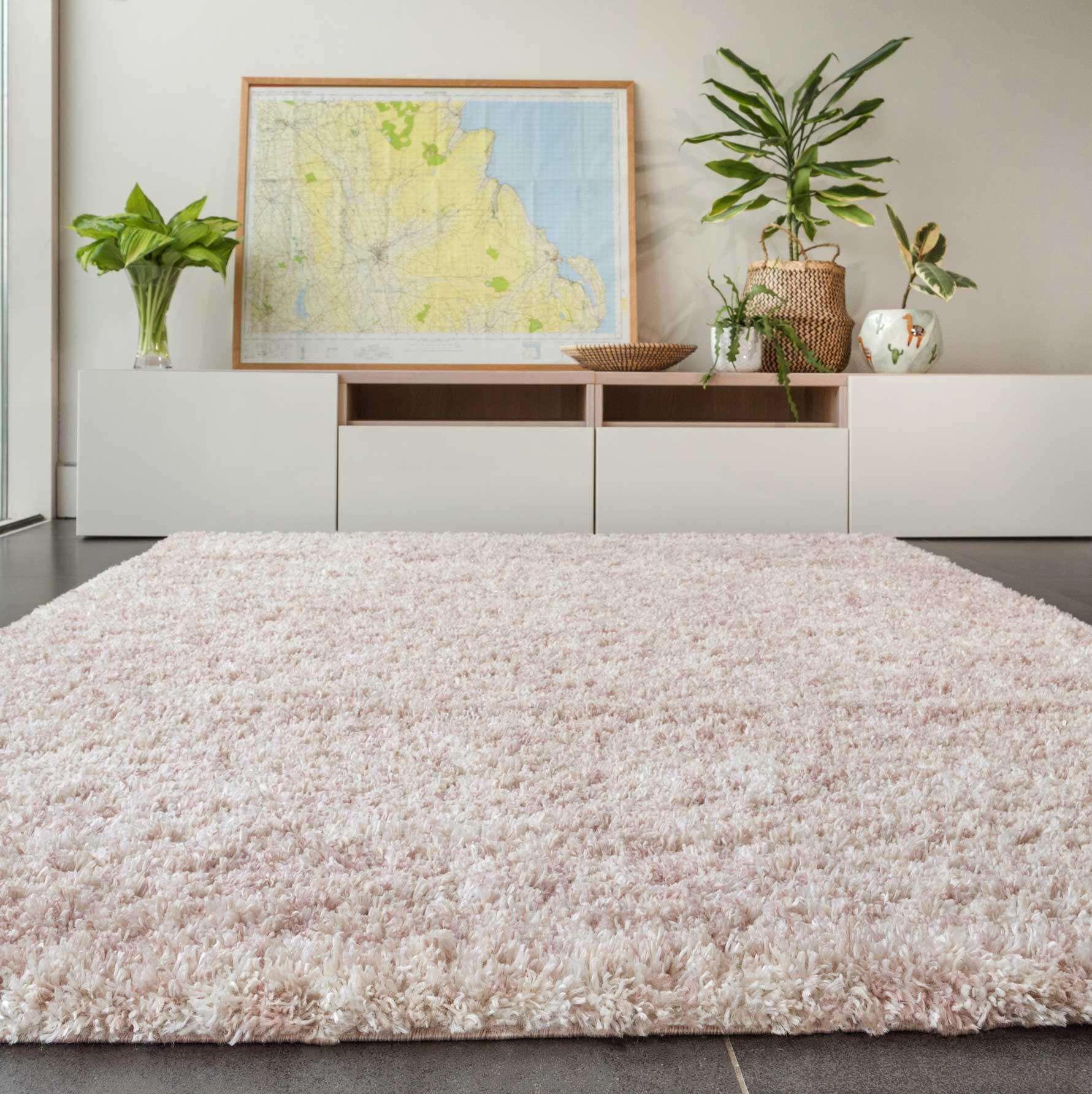 Soft Mottled Light Pink Shaggy Area Rug | Camberley