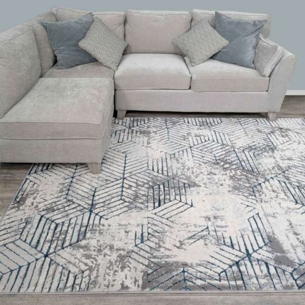 Modern Blue Abstract Geometric Living, Rugs Modern Living Rooms