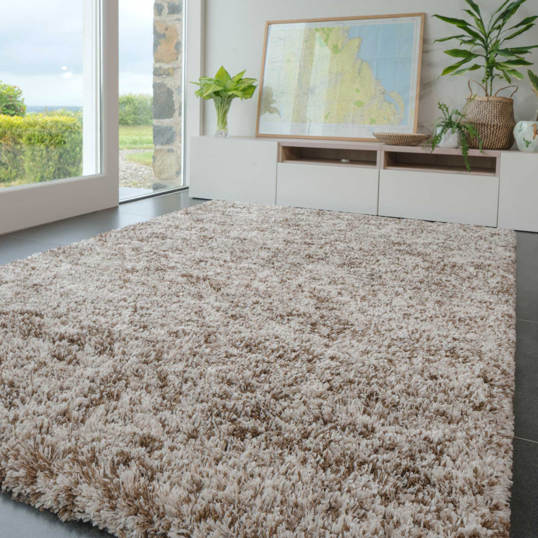 Soft Mottled Brown Shaggy Area Rug | Camberley