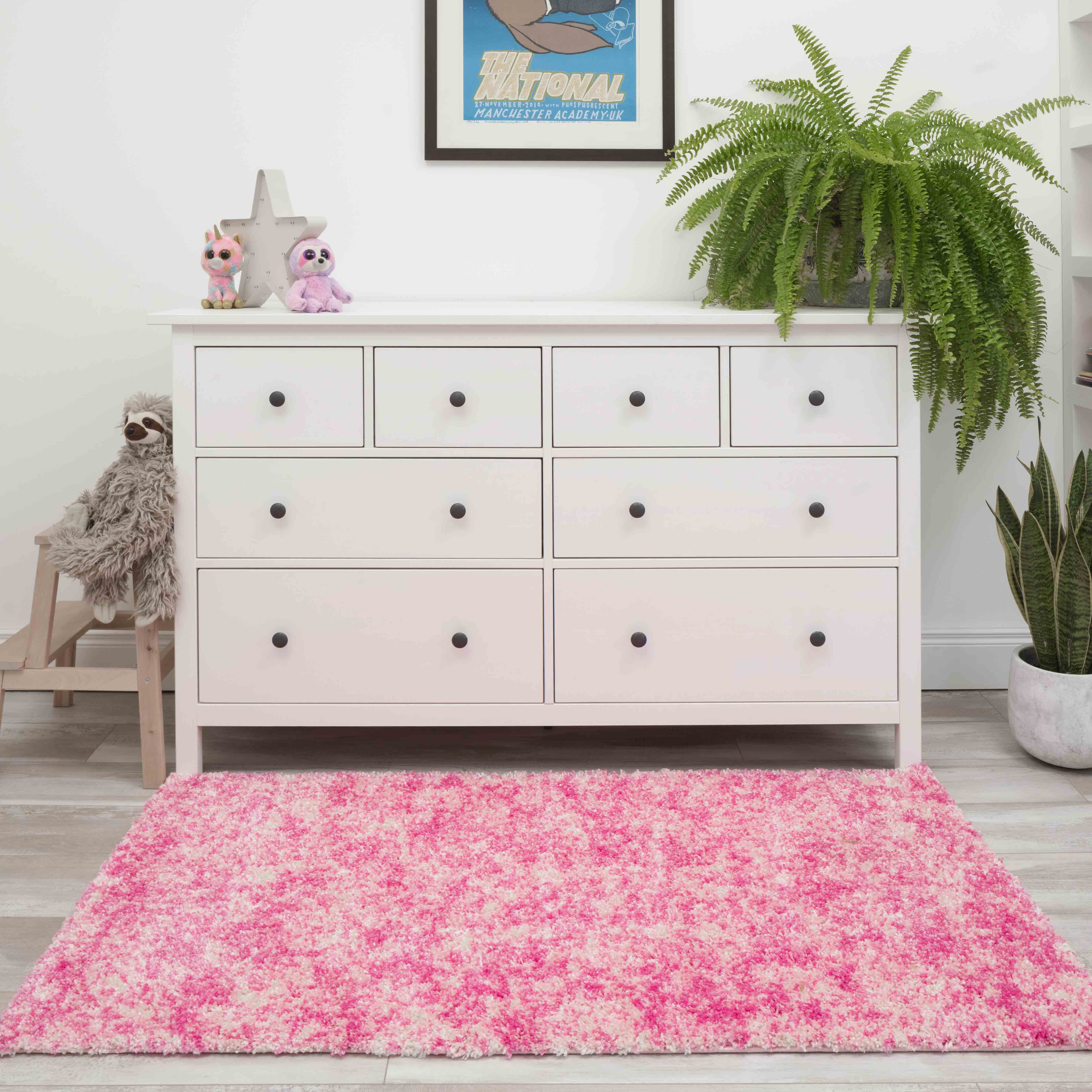 Baby Pink Mottled Shaggy Living Room