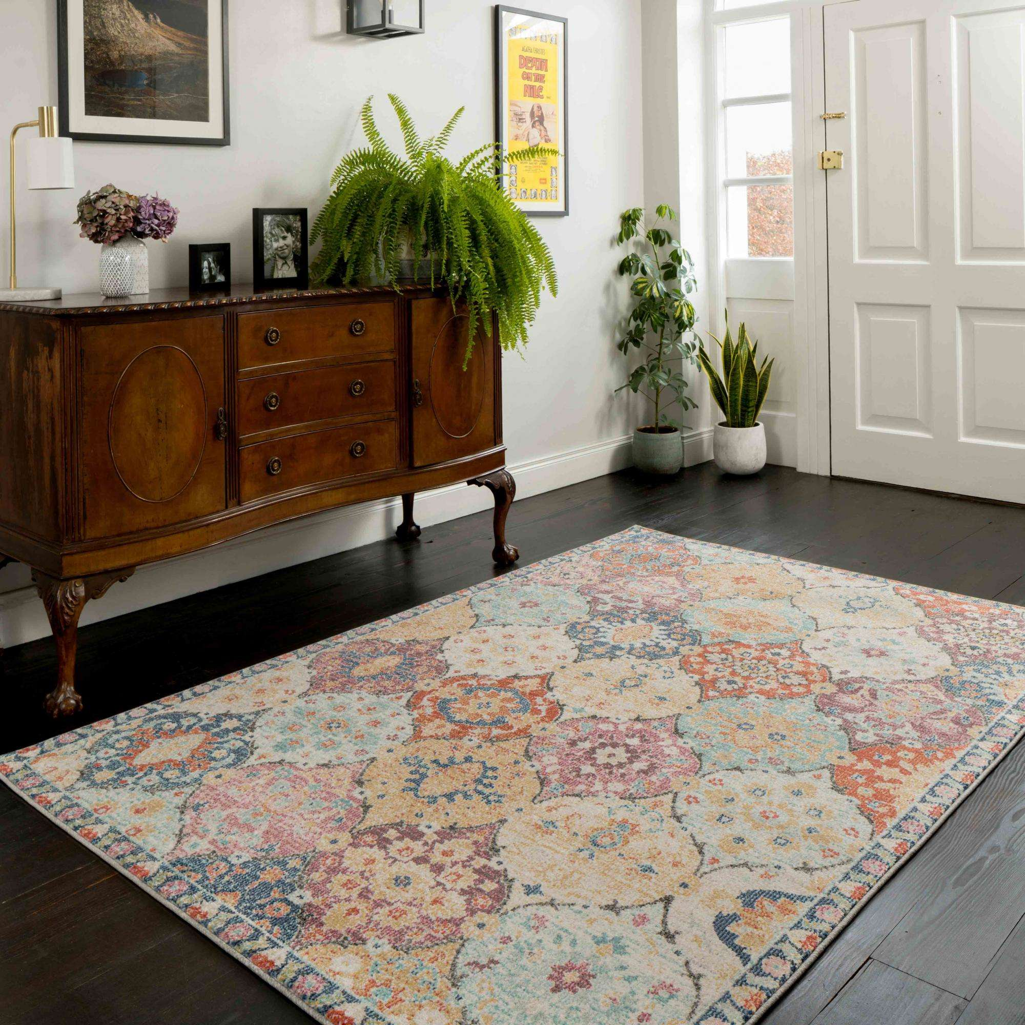 Soft Moroccan Colourful Living Room, Living Room Area Rug