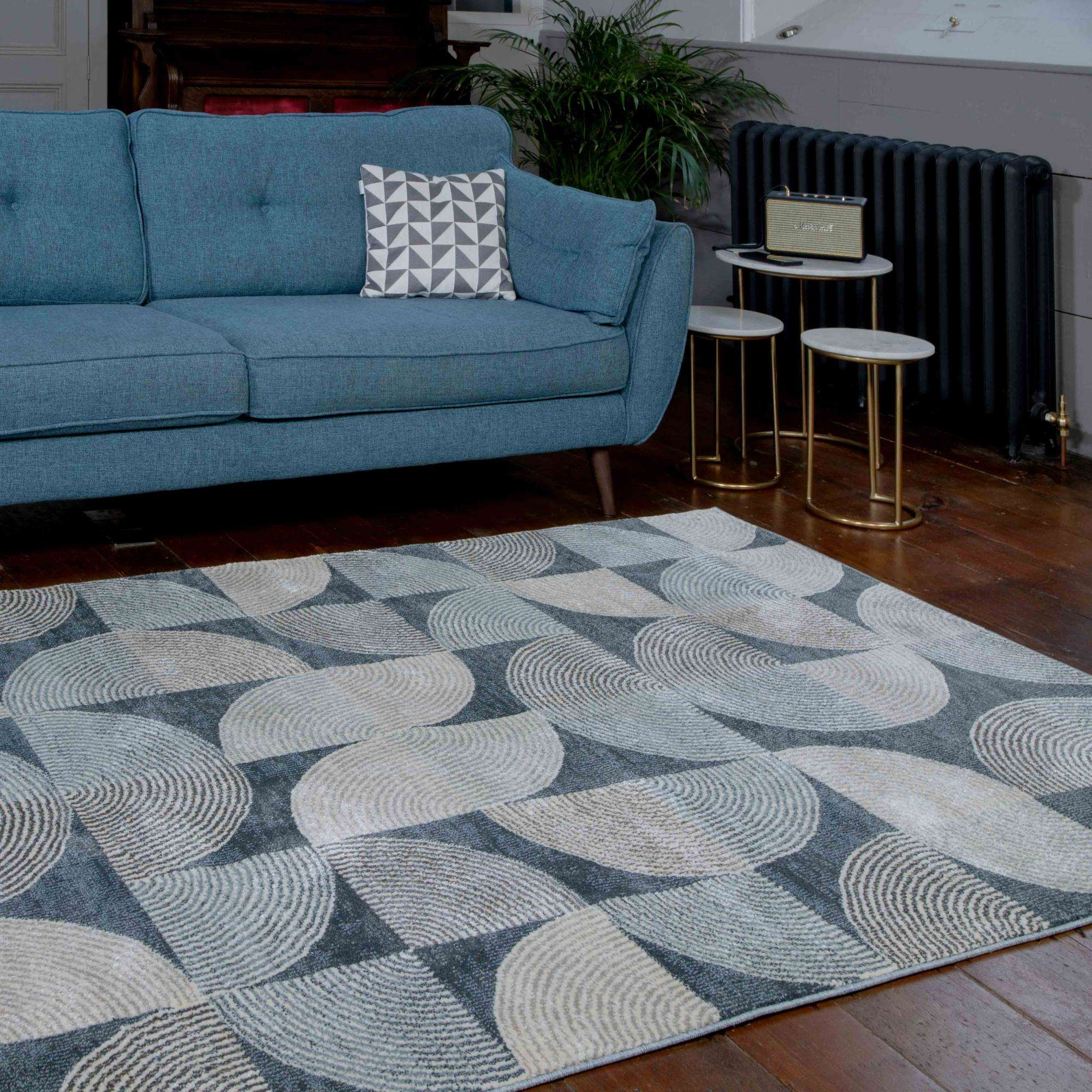 Soft Modern Blue Geometric Abstract Living Room Rugs - Riviera