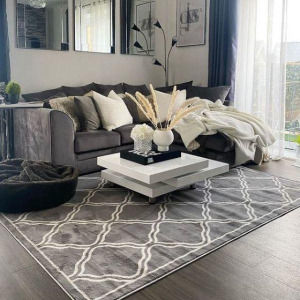 Dark Grey Trellis Living Room Rug, Dark Carpet Living Room