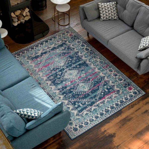 Oriental Maroccan Pattern Mottled Pink Living Room Bedroom Rug Short Pile Carpet