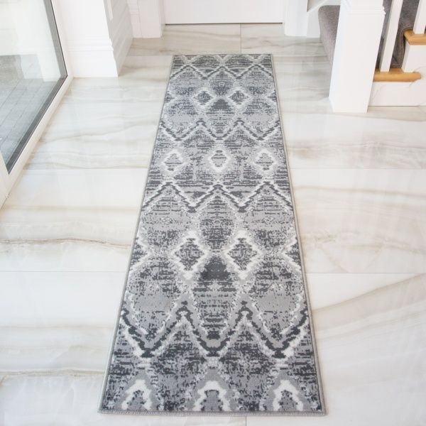 Abstract Grey Hall Runner Living Room Rug - Soho