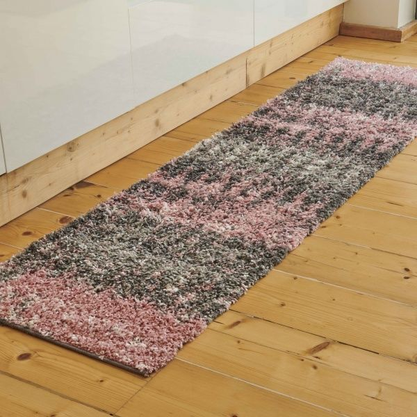 Blush Distressed Textured Shaggy Runner Rug - Florence