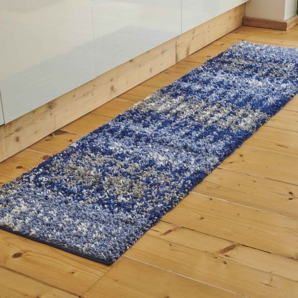 Navy Distressed Textured Shaggy Runner Rug - Florence