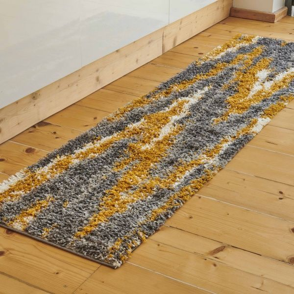 Grey Ochre Nordic Distressed Shaggy Runner Rug - Florence