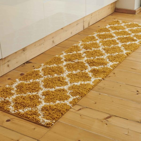 Yellow Moroccan Trellis Shaggy Runner Rug - Florence
