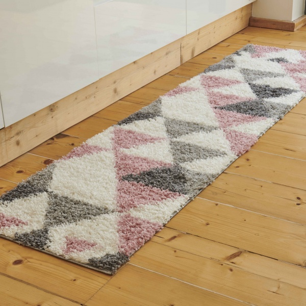 Blush Pink Geometric Shaggy Runner Rug - Florence