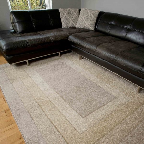 Soft Layered Bordered Tonal Natural Beige Rugs - Westland