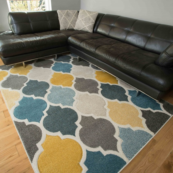 Soft Moroccan Tiled Pattern Yellow Blue Rugs - Westland